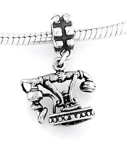 STERLING SILVER DANGLING FRENCH TELEPHONE EUROPEAN BEAD