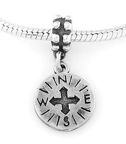 STERLING SILVER DANGLING COMPASS EUROPEAN BEAD