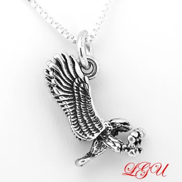 STERLING SILVER EAGLE CHARM and STERLING SILVER 16 inch box chain NECKLACE