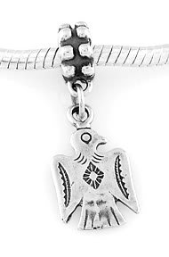 STERLING SILVER DANGLE SOUTHWEST THUNDERBIRD EUROPEAN BEAD