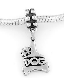 STERLING SILVER DANGLING #1 DOG WITH BONE EUROPEAN BEAD