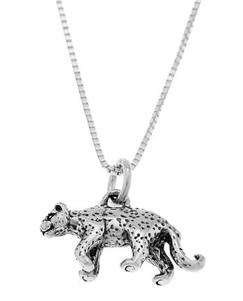 STERLING SILVER CHEETAH LEOPARD CHARM WITH 16 inch BOX CHAIN NECKLACE
