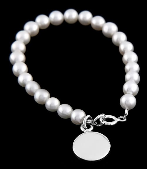 STERLING SILVER FRESHWATER PEARL CHILD BRACELET 6.5""