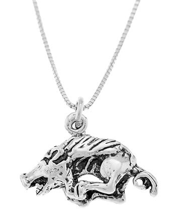 STERLING SILVER RAZORBACK BOAR HOG CHARM WITH 16 inch BOX CHAIN NECKLACE