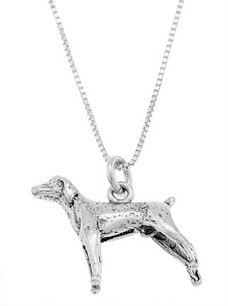 STERLING SILVER POINTER / WEIMARANER DOG CHARM WITH 16 inch BOX CHAIN NECKLACE