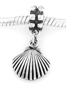 STERLING SILVER DANGLING SEASHELL EUROPEAN BEAD