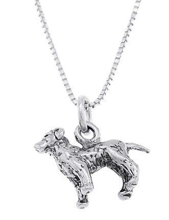 STERLING SILVER LABRADOR RETRIEVER PUPPY DOG CHARM WITH 16 inch BOX CHAIN NECKLACE