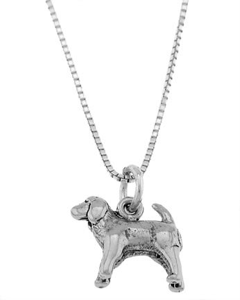 STERLING SILVER COCKER SPANIEL PUPPY DOG CHARM WITH 16 inch BOX CHAIN NECKLACE