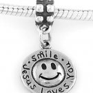 STERLING SILVER DANGLE SMILE JESUS LOVES YOU EUROPEAN BEAD