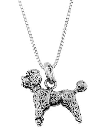 STERLING SILVER MINIATURE POODLE / POODLE DOG CHARM WITH 16 inch BOX CHAIN NECKLACE