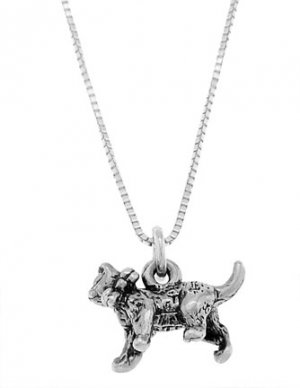 STERLING SILVER CAT WITH BOW / KITTY CAT WITH BOW CHARM WITH 16 inch BOX CHAIN NECKLACE