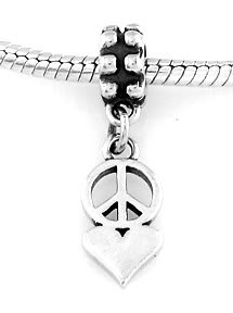 STERLING SILVER DANGLE PEACE AND LOVE EUROPEAN BEAD