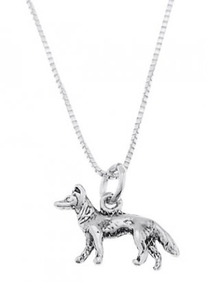STERLING SILVER SMALL GERMAN SHEPHERD CHARM WITH 16 inch BOX CHAIN NECKLACE