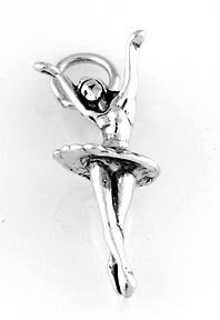 STERLING SILVER DANCING BALLERINA CHARM/PENDANT