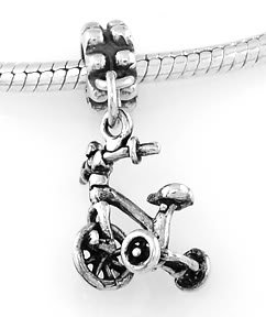 STERLING SILVER DANGLING THREE WHEEL TRICYCLE EUROPEAN BEAD