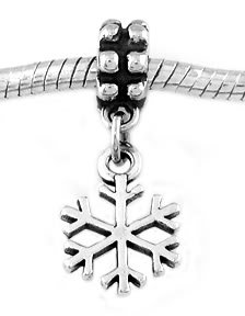 STERLING SILVER DANGLING WINTER SNOWFLAKE EUROPEAN BEAD