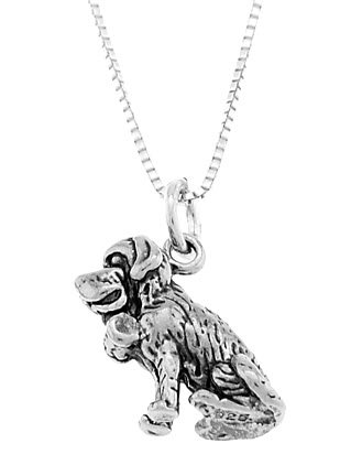 STERLING SILVER ST. BERNARD DOG CHARM WITH 16 inch BOX CHAIN NECKLACE