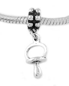 STERLING SILVER DANGLING BABY PACIFIER EUROPEAN BEAD