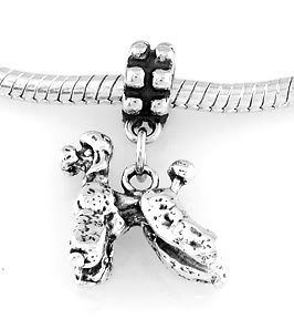 STERLING SILVER DANGLING POODLE DOG EUROPEAN BEAD