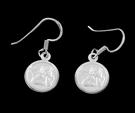 Sterling Silver CHERUB ANGEL Fish Hook Earrings