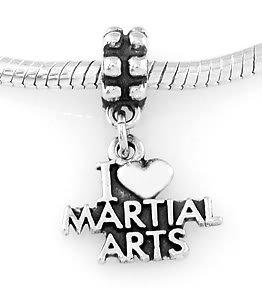 STERLING SILVER DANGLING I LOVE MARTIAL ARTS EUROPEAN BEAD
