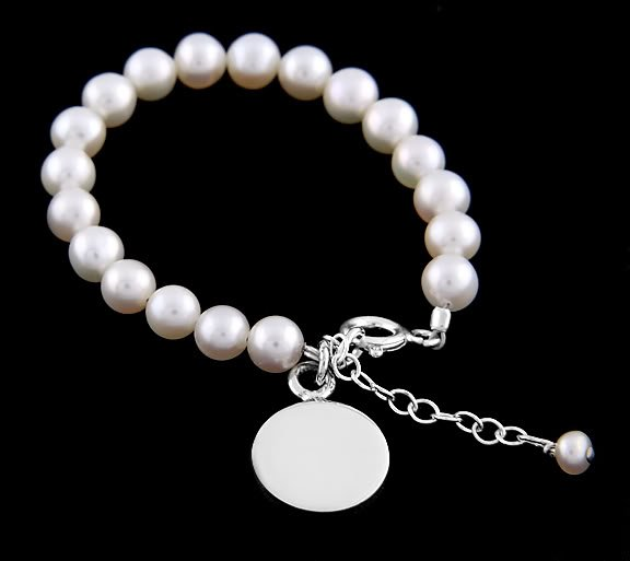 "STERLING SILVER FRESHWATER PEARL BRACELET W/ ROUND DISC 6"" for CHILD"