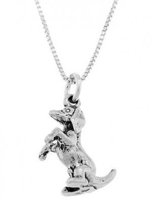 STERLING SILVER DACHSHUND DOG SITTING UP ON BACK LEGS CHARM with 16 inch BOX CHAIN NECKLACE