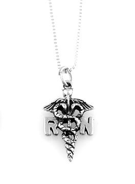 """STERLING SILVER RN REGISTERED NURSE CHARM WITH 18"""" BOX CHAIN"""