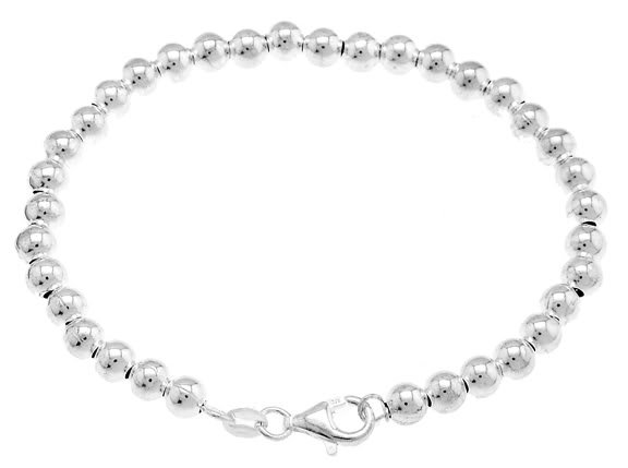 STERLING SILVER 5MM BALL BEAD BRACELET 7 inch