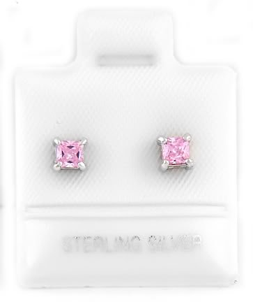 STERLING SILVER OCTOBER BIRTHSTONE CZ CHILD POST EARRINGS 3mm