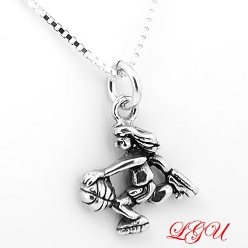 STERLING SILVER BASKETBALL GIRL CHARM with 16 inch NECKLACE