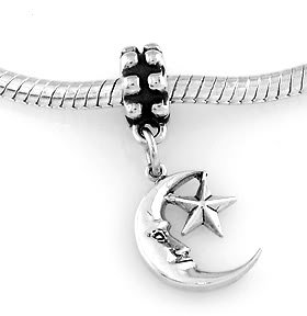 STERLING SILVER DANGLING MOON WITH STAR EUROPEAN BEAD