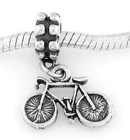 STERLING SILVER DANGLING BICYCLE EUROPEAN BEAD