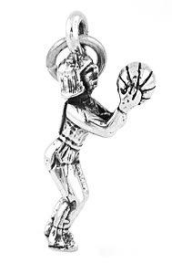 STERLING SILVER GIRL BASKETBALL PLAYER CHARM/PENDANT