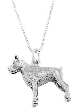 STERLING SILVER BOXER DOG CHARM WITH 18 inch BOX CHAIN NECKLACE