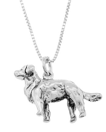 STERLING SILVER GOLDEN RETRIEVER DOG CHARM WITH 18 inch BOX CHAIN NECKLACE