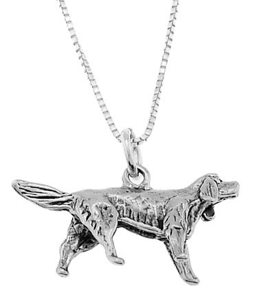 STERLING SILVER IRISH SETTER DOG CHARM WITH 18 inch BOX CHAIN NECKLACE