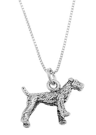 STERLING SILVER AIREDALE TERRIER DOG CHARM WITH 18 inch BOX CHAIN NECKLACE