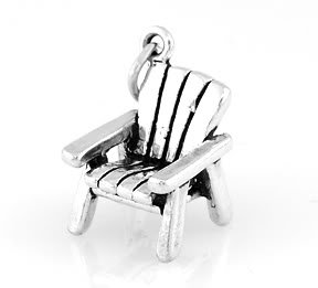 STERLING SILVER 3D ADIRONDACK CHAIR CHARM