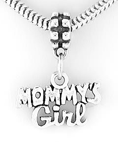 STERLING SILVER DANGLING MOMMY'S GIRL EUROPEAN BEAD