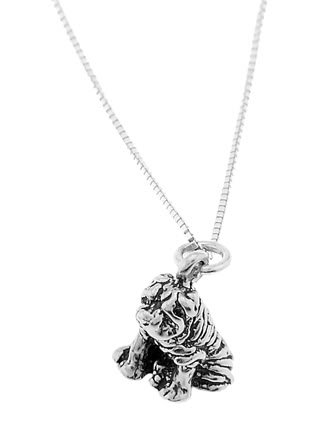 STERLING SILVER WRINKLE DOG / SHAR PEI DOG CHARM WITH 18 inch BOX CHAIN NECKLACE