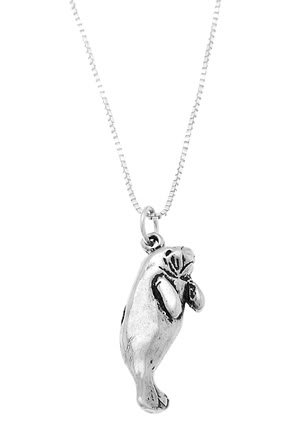 STERLING SILVER MANATEE / SEA COW CHARM WITH 18 inch BOX CHAIN NECKLACE