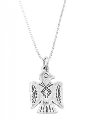 STERLING SILVER SOUTHWEST MOTIF THUNDERBIRD CHARM WITH 16 inch BOX CHAIN NECKLACE