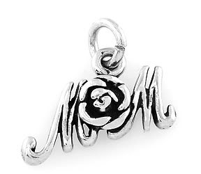 STERLING SILVER 925 MOM w/ ROSE CHARM/PENDANT
