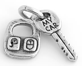 STERLING SILVER CAR KEY WITH REMOTE CONTROL CHARM/PENDANT