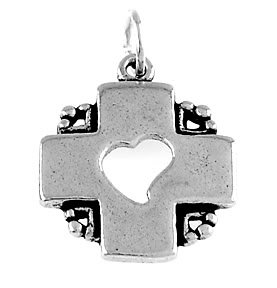 STERLING SILVER CROSS WITH A HEART CUT OUT OF THE MIDDLE CHARM/PENDANT