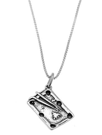 STERLING SILVER POOL / BILLIARD TABLE CHARM WITH 16 inch BOX CHAIN NECKLACE
