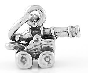 STERLING SILVER SMALL CANNON CHARM/PENDANT