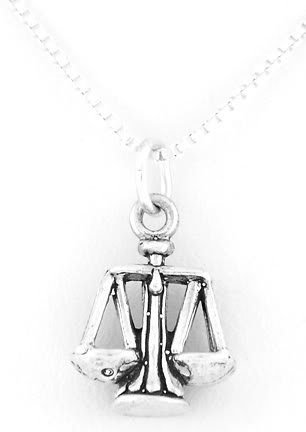 """STERLING SILVER SCALES OF JUSTICE CHARM W/ 16"""" BOX CHAIN"""