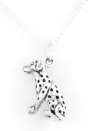 """STERLING SILVER SPARKY STYLE DOG DALMATIAN CHARM W/16"""" BOX CHAIN"""